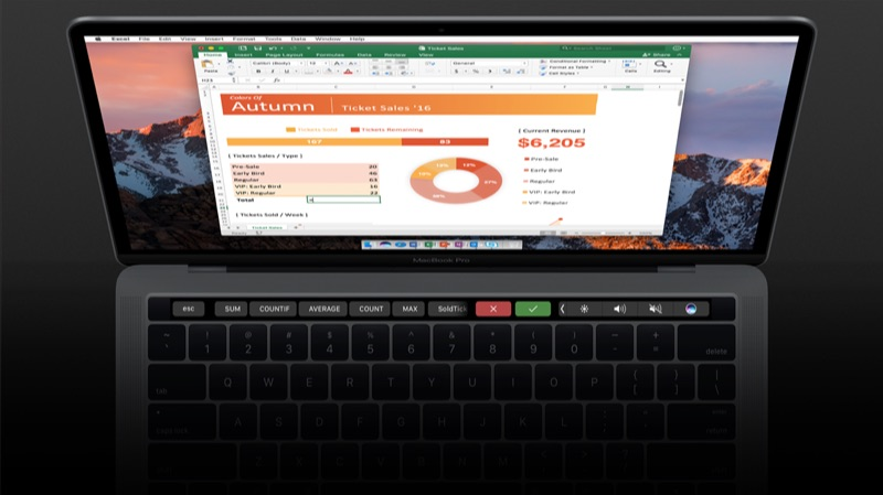 Microsoft Office Excel met Touch Bar.