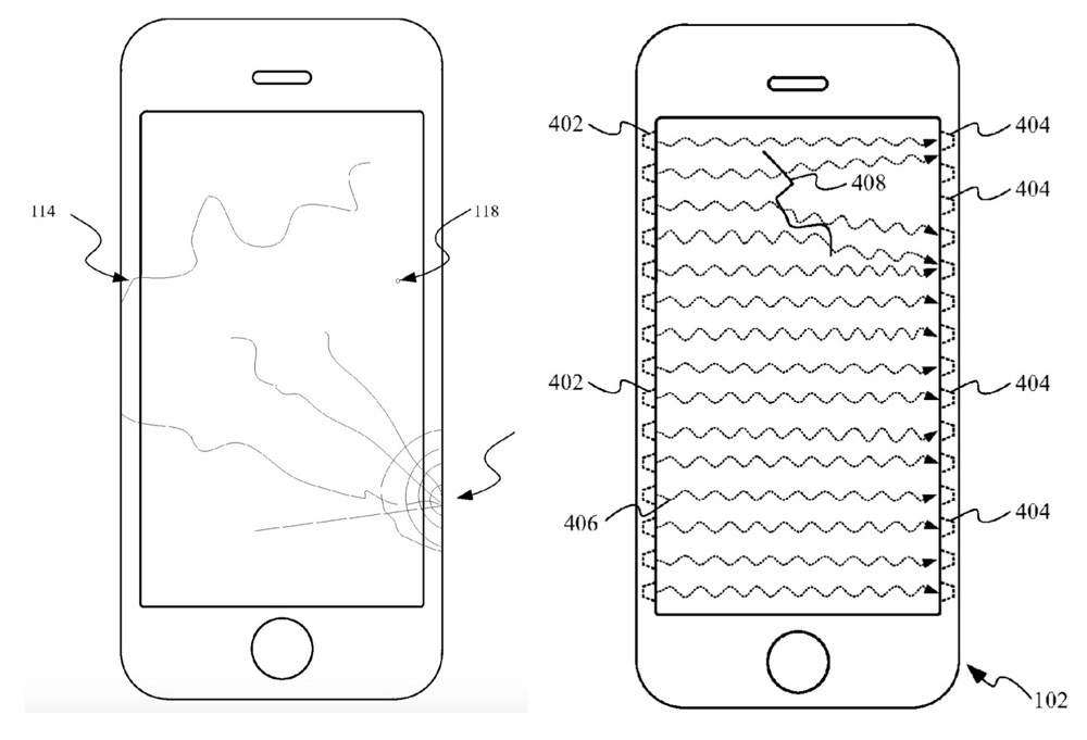 iPhone-scherm met barsten in patent.