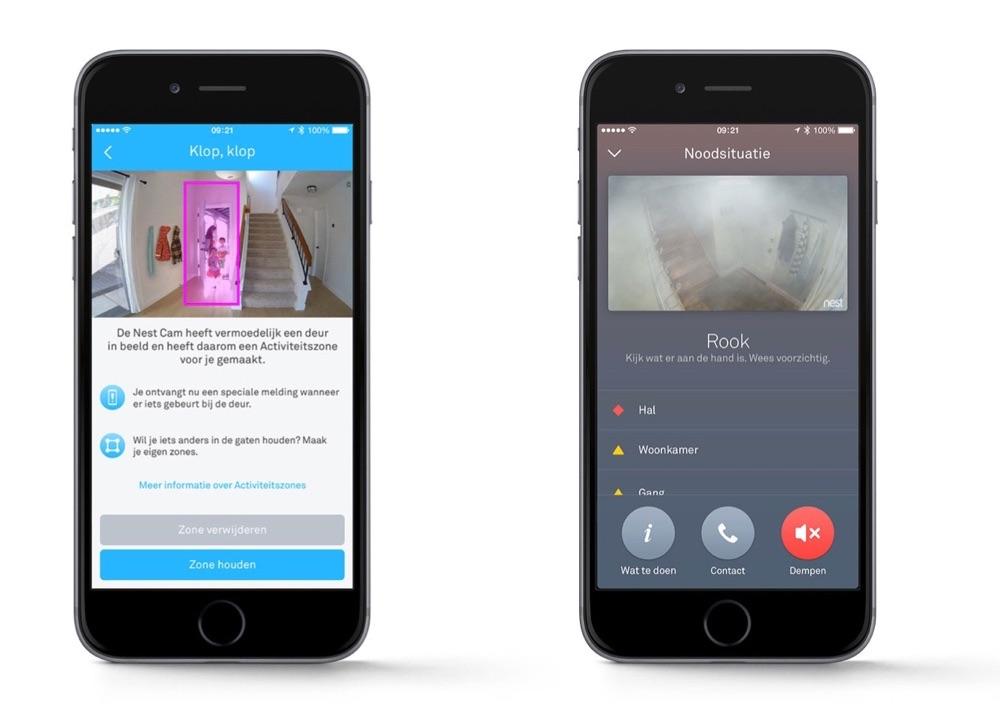 Nest-app met Nest Cam en rook.