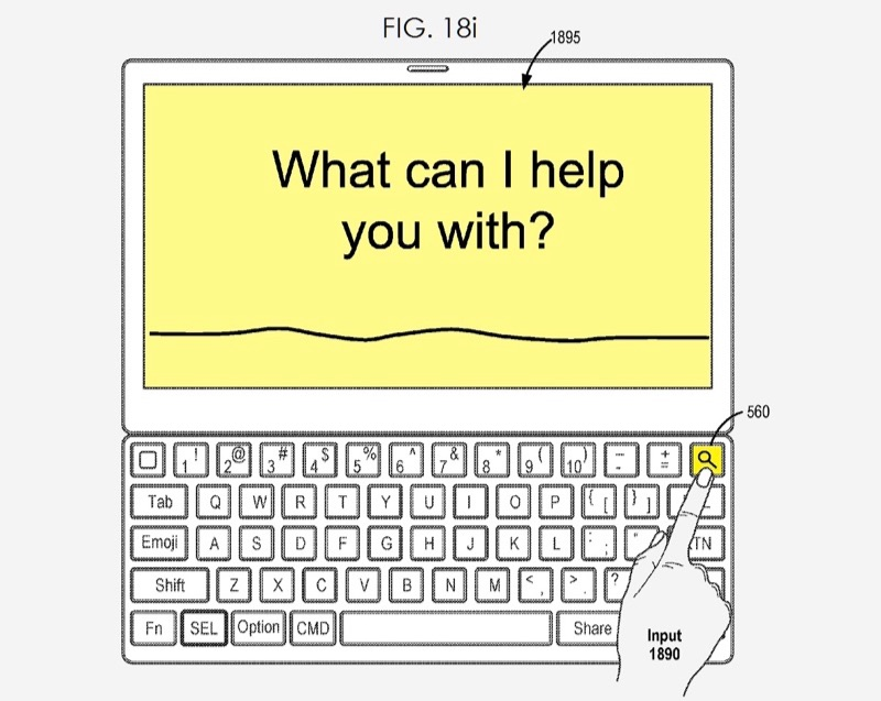 Smart Keyboard 2 in patent met Siri.