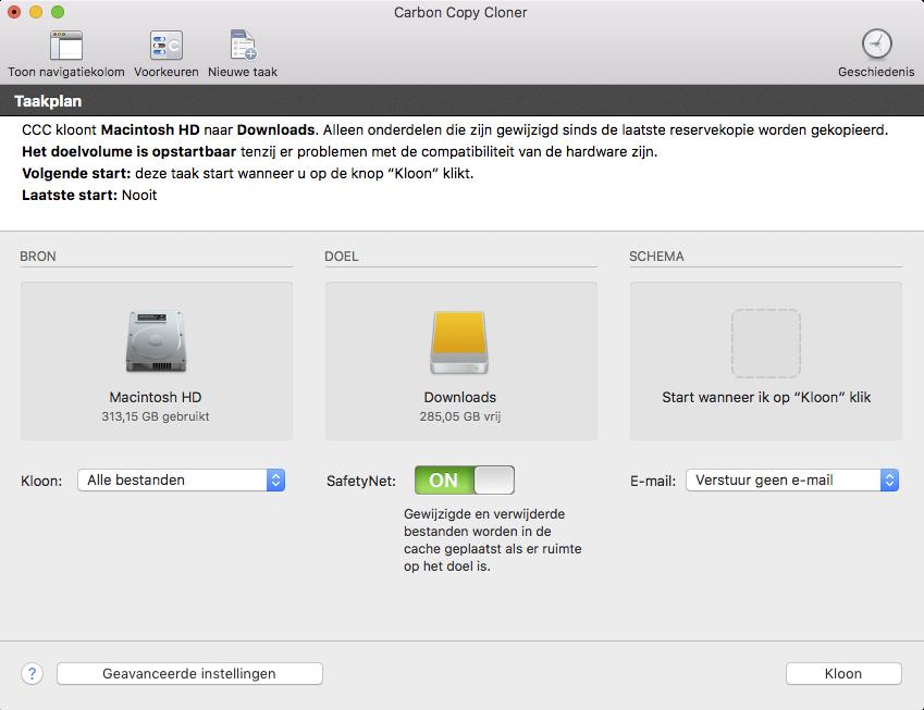 Backup van je Mac maken met Carbon Copy Cloner