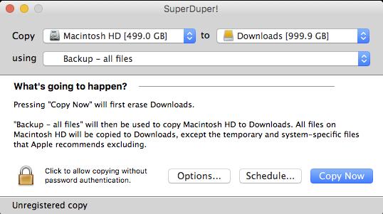 Backup maken met SuperDuper