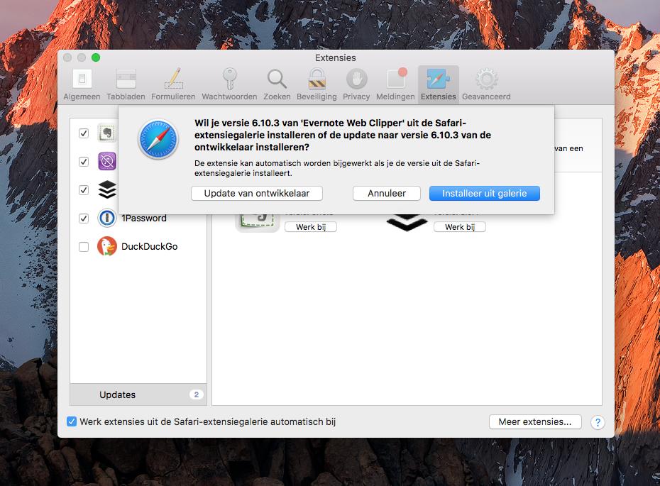 Safari-extensie updaten