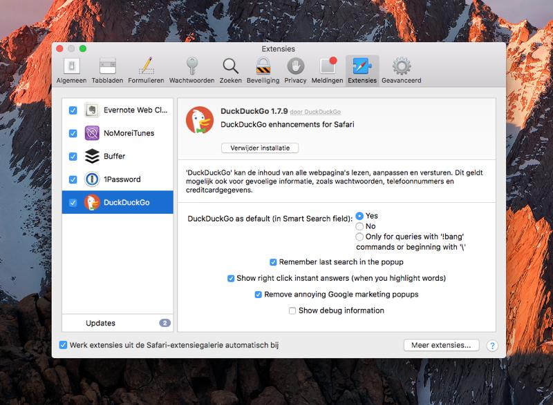 Safari-extensies verwijderen en beheren