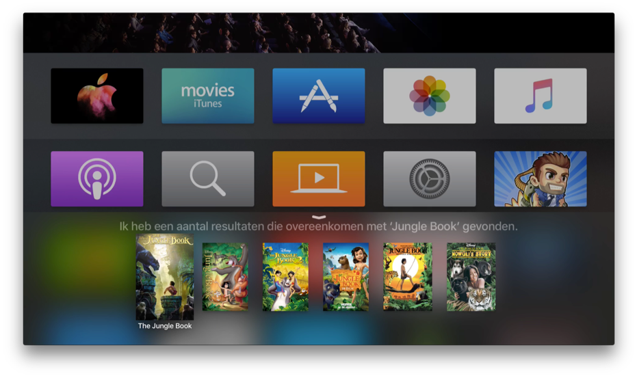 Siri op de Apple TV met films.