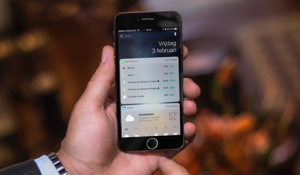Batterij-widget op de iPhone.