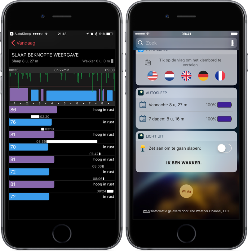 AutoSleep met widgets en HeartWatch.