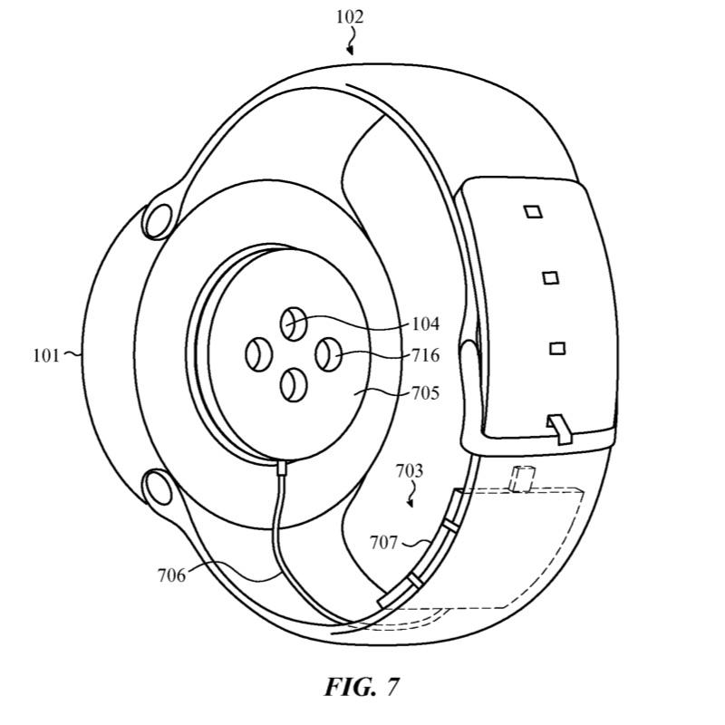 Patent van een Apple Watch-oplader die je tijdens het dragen kunt gebruiken.