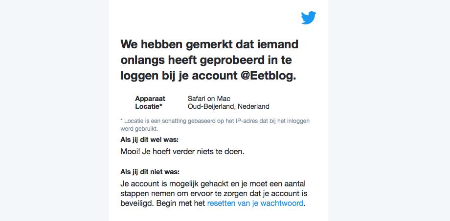 Inlogpoging Twitter-account