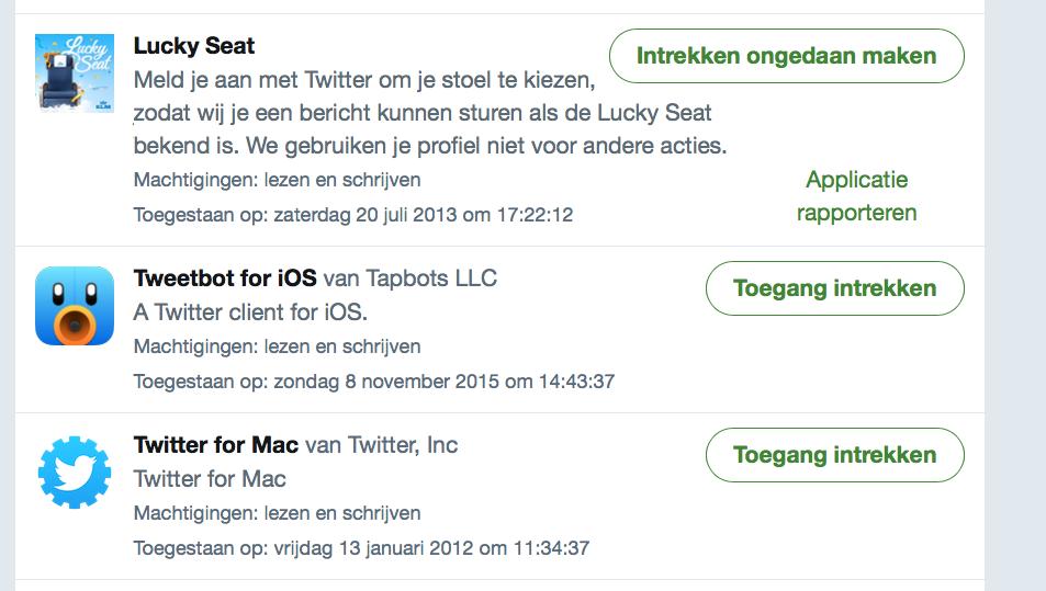 Twitter: apps blokkeren