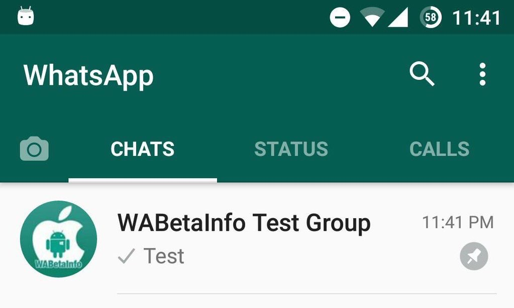 Pinned chat in WhatsApp.