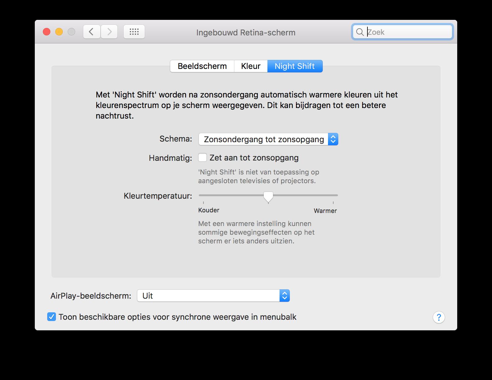 Night Shift op de Mac instellen.