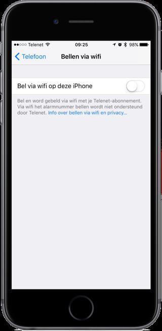 Bellen via Wi-Fi met Telenet.