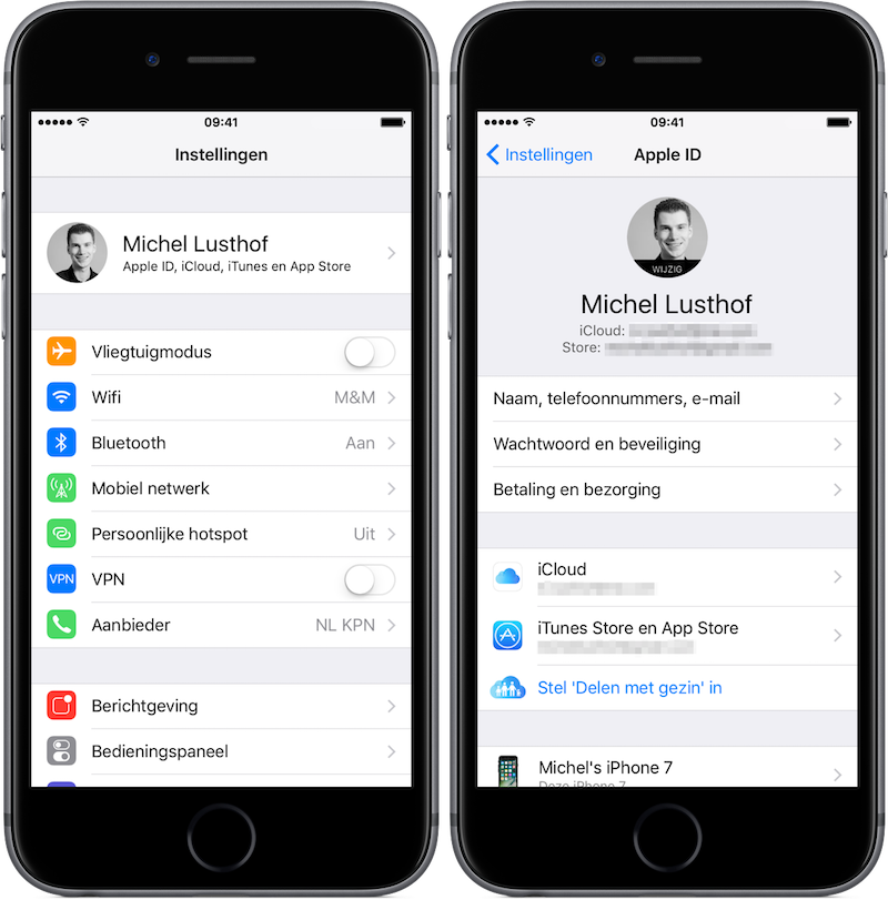 App ID instellingen vanuit hoofdmenu Instellingen