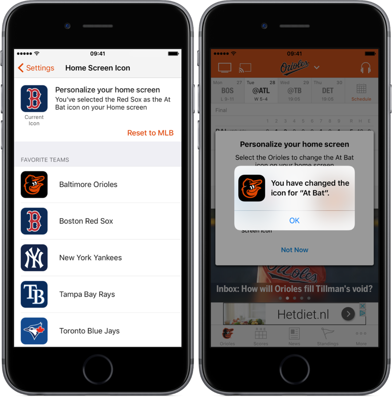 Appicoon aangepast in MLB.com At Bat.