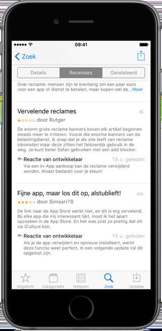 App Store review met reactie van ontwikkelaar.