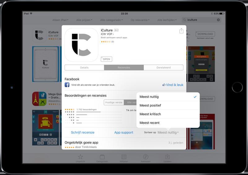 App Store recensies sorteren.