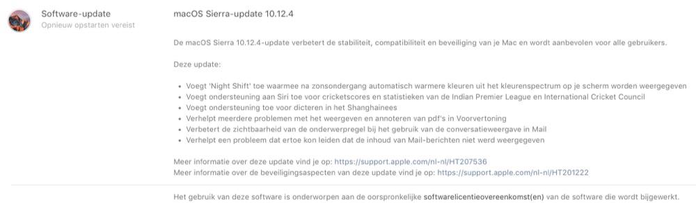 macOS Sierra 10.12.4 release notes.