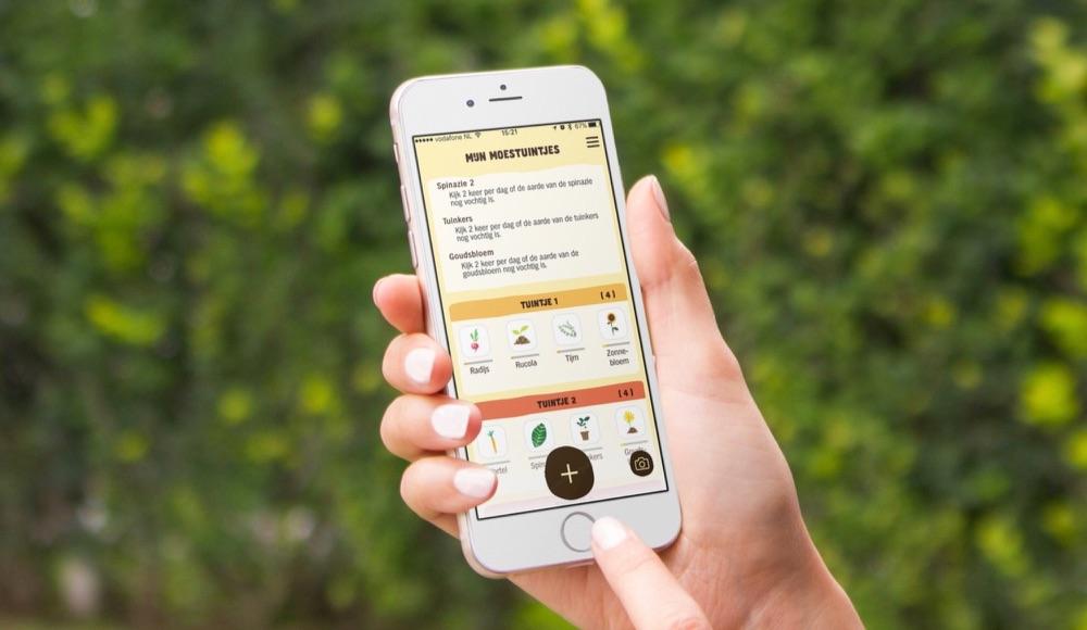 AH Moestuintje-app op de iPhone.