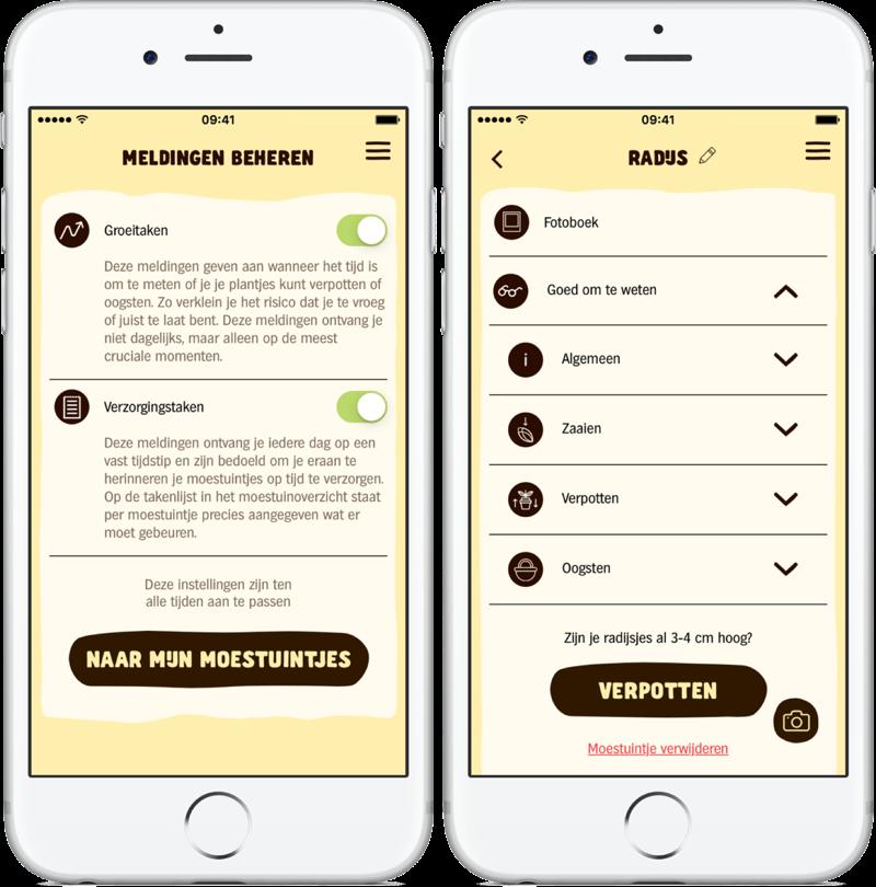 AH Moestuintje-app met meldingen en info.