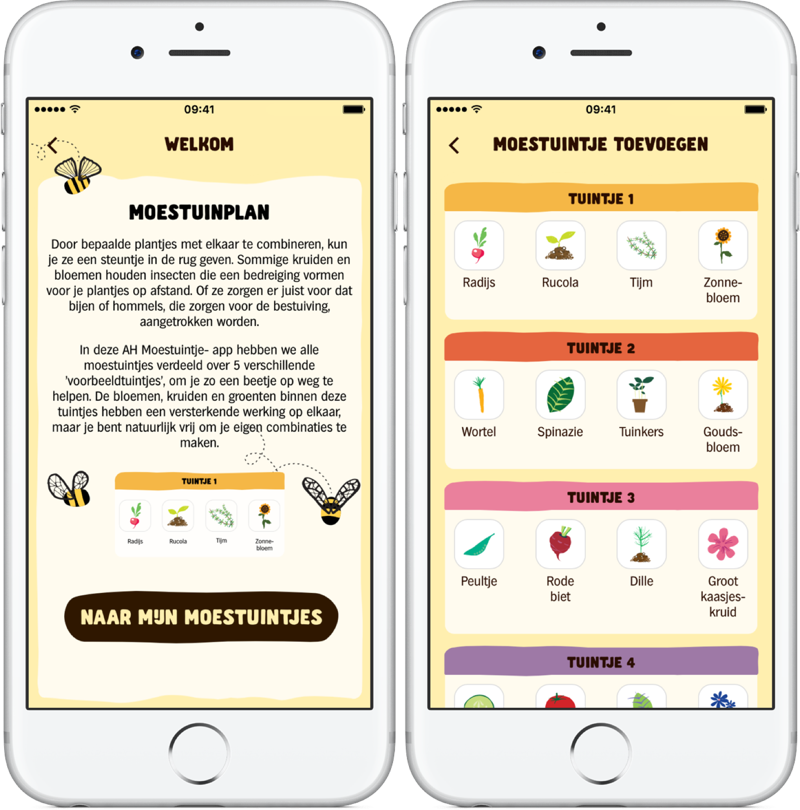 AH Moestuintje-app met introductie.