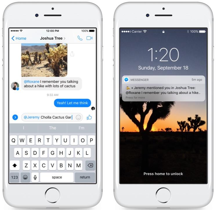 Facebook Messenger vermeldingen.