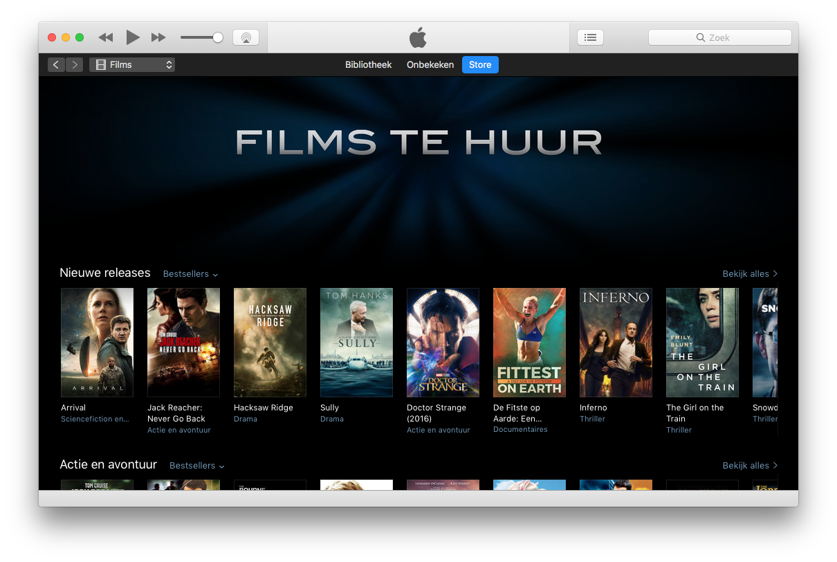 Films huren in iTunes.