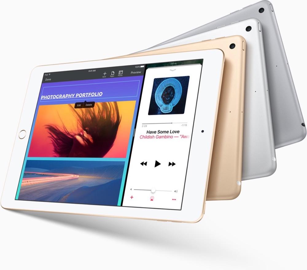 Nieuwe 9,7-inch iPad in drie kleuren.