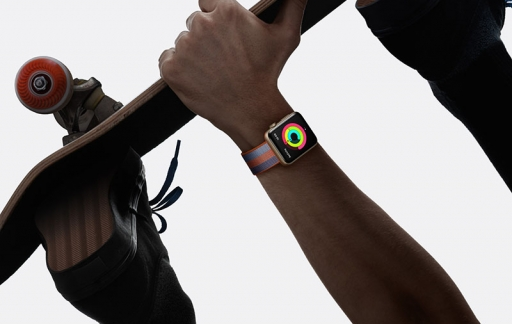 Apple Watch bandjes met activeitenringen en skateboard