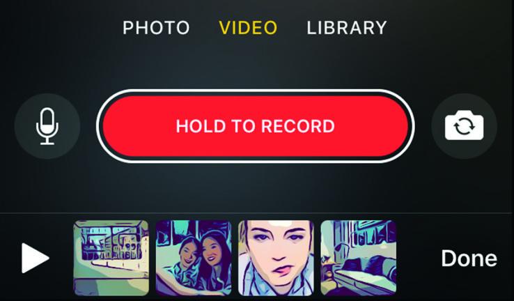 Bediening in Clips-app.