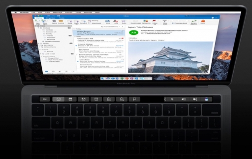 Outlook 2016 met Touch Bar.