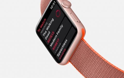 Serist op de Apple Watch met een lijst van afleveringen.