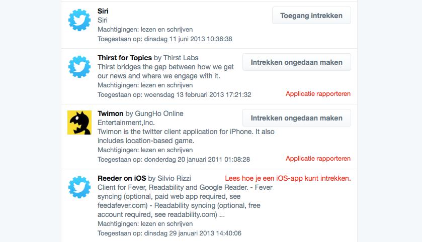 Twitter toegang intrekken