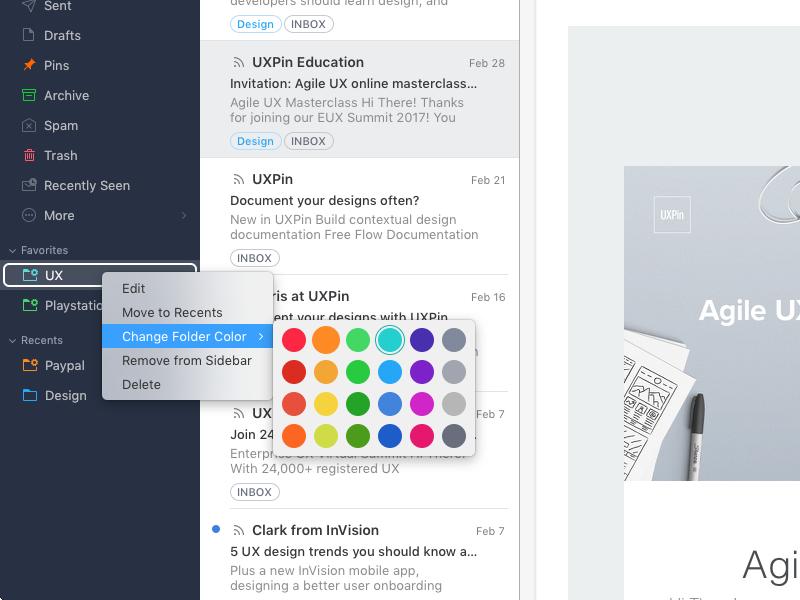 Spark voor de Mac met gekleurde mappen.