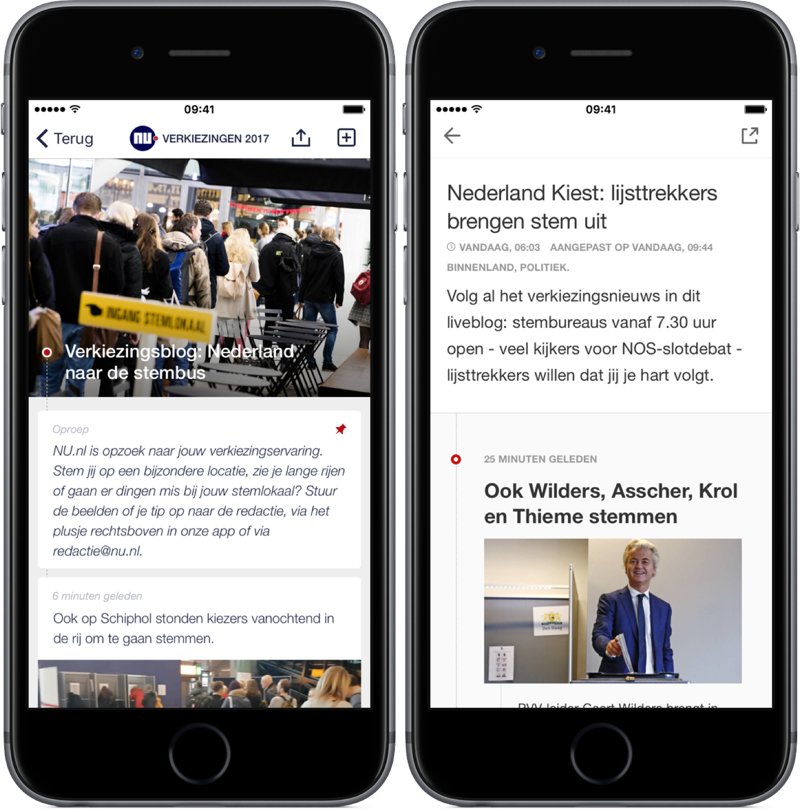 Liveblogs over de verkiezingen in NU- en NOS-app.