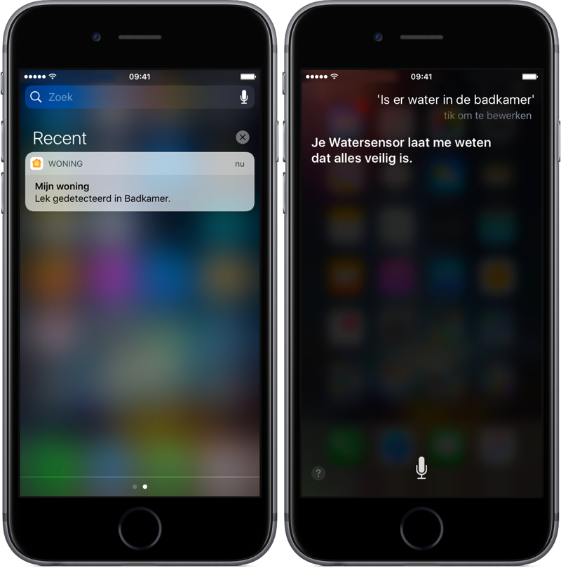 Fibaro Flood Sensor in Woning-app en Siri.