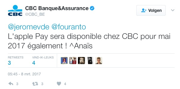 CBC-tweet over Apple Pay.