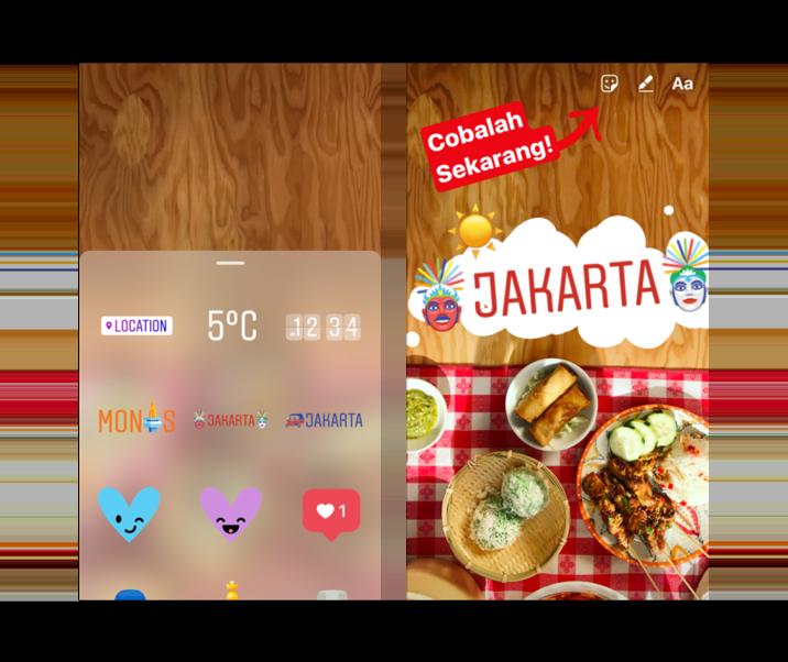 Instagram geostickers voor Jakarta.