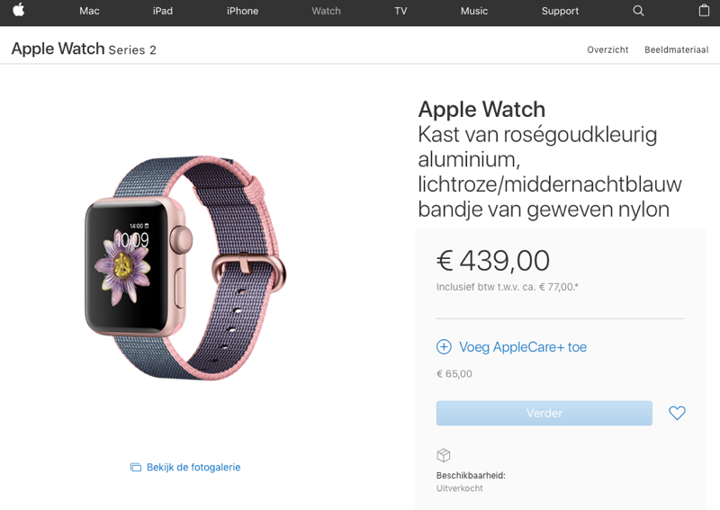 Apple Watch uitverkocht