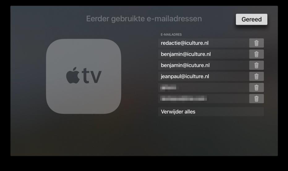 Eerder gebruikte e-mailadressen op de Apple TV verwijderen.