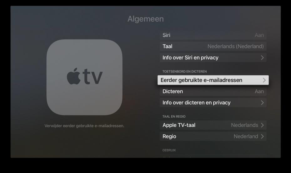 E-mailadressen beheren op de Apple TV.