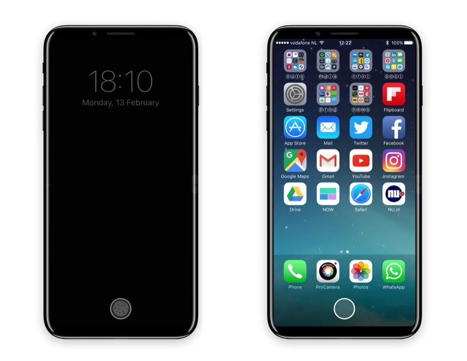 Toegangsscherm en beginscherm met functiepaneel in iPhone 8.