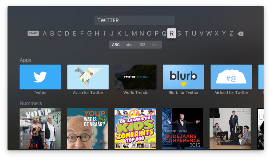 Apple TV-apps openen met de Zoek-app.
