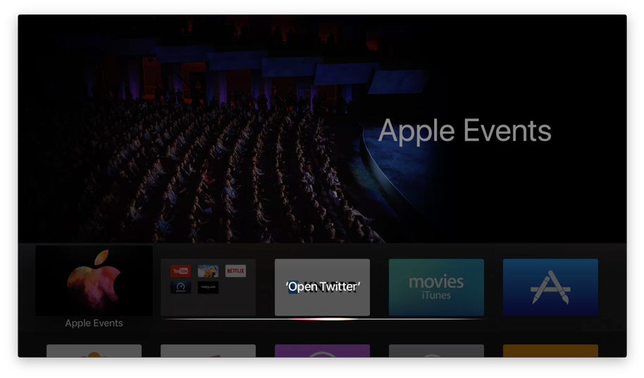 Apple TV apps openen met Siri.