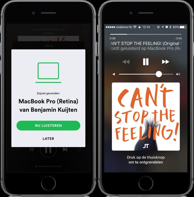 Spotify voor iPhone vanaf het toegangsscherm.