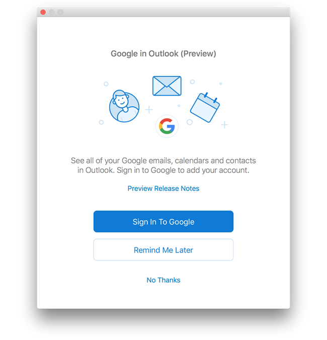 Outlook 2016 voor Mac met Google Agenda en Contacten