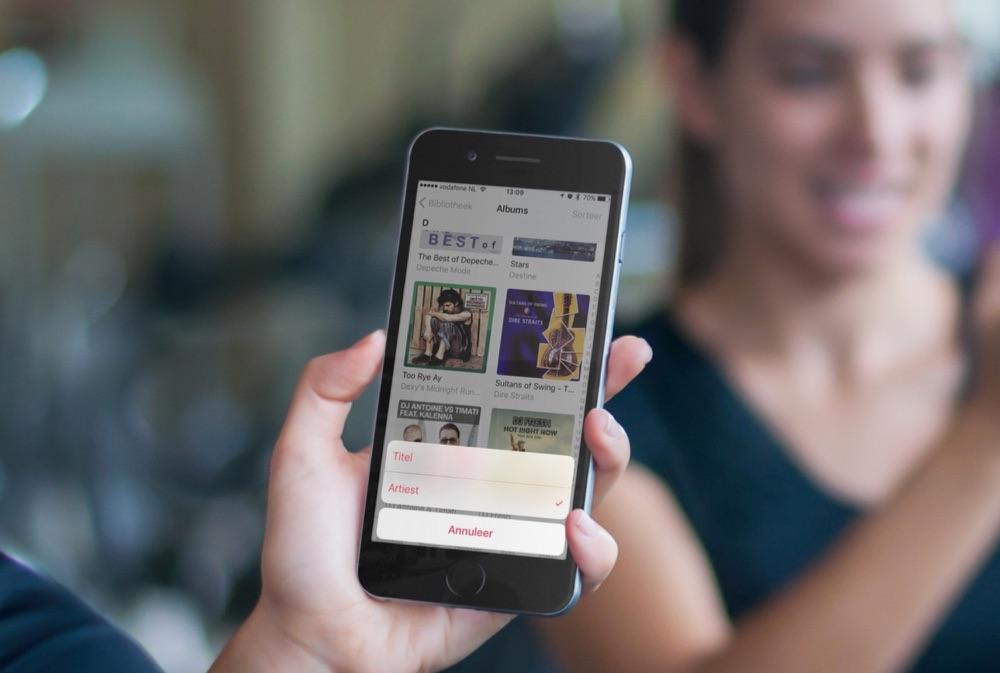 Nummers en albums sorteren in de Muziek-app.
