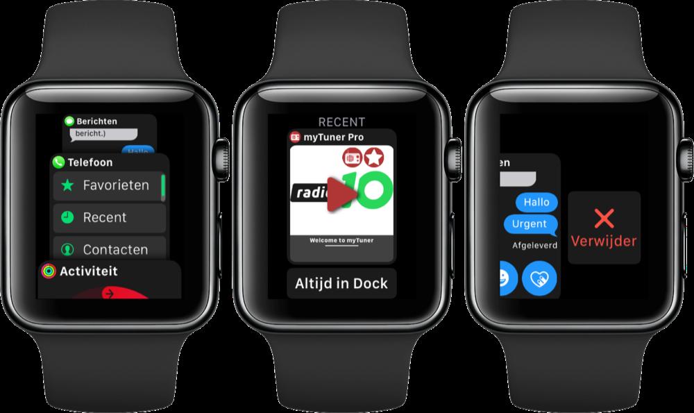 Dock op de Apple Watch gebruiken.