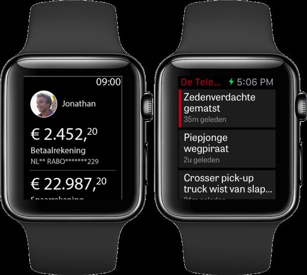 Rabobank en de Telegraaf op Apple Watch.