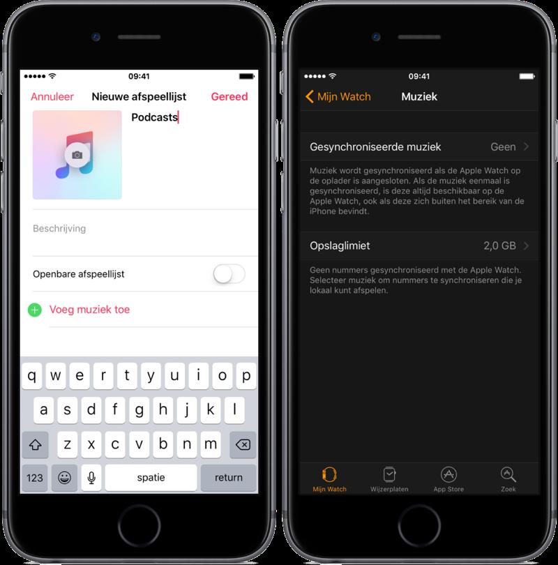 Podcasts afspeellijst synchroniseren met je Apple Watch.